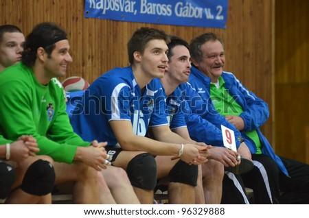 KAPOSVAR, HUNGARY - FEBRUARY 23: Kaposvar players at a Hungarian volleyball National Championship game Kaposvar (blue) vs. Csepel (deep blue), on February 23, 2012 in Kaposvar, Hungary. - stock photo