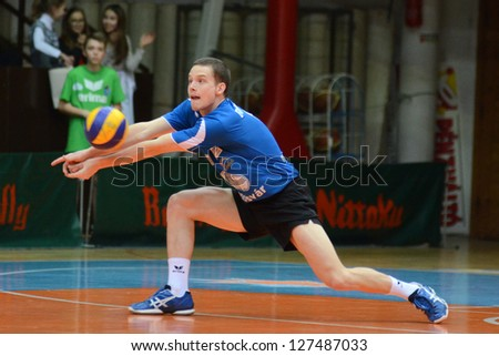 KAPOSVAR, HUNGARY - FEBRUARY 1: Lajos Domotor in action at a Middle European League volleyball game Kaposvar HUN (w) vs Innsbruck AUT (b), February 1, 2013 in Kaposvar, Hungary