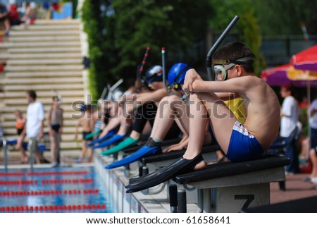 KAPOSVAR, HUNGARY - MAY 12: Competitors start in the international fin swimming competition , May 12, 2007 in Kaposvar, Hungary