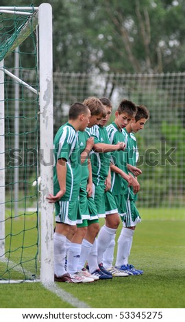 KAPOSVAR, HUNGARY - MAY 15: Gyor players line up at the Hungarian National Championship under 15 game Kaposvari Rakoczi vs. Gyor May 15, 2010 in Kaposvar, Hungary.