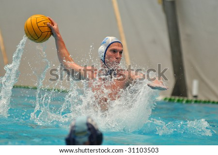KAPOSVAR, HUNGARY - MAY 9: Hungarian national championship water-polo game between Kaposvari VK and Ybl Water Polo Club , May 09, 2009 in Kaposvar, Hungary