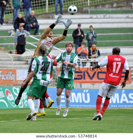 KAPOSVAR, HUNGARY - MAY 20: Ivan Rados (goalkeeper) in action at a Hungarian National Championship soccer game Kaposvar vs. Diosgyor - May 20, 2010 in Kaposvar, Hungary.