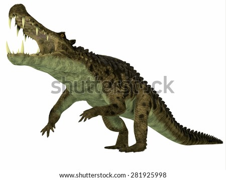 Kaprosuchus over White - Kaprosuchus was a marine reptile that lived in rivers and swamps of the Cretaceous Period. - stock photo