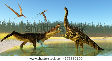 Kaprosuchus Swamp - Two Anhanguera reptiles fly over as a Kaprosuchus marine reptile confronts an Agustinia dinosaur.