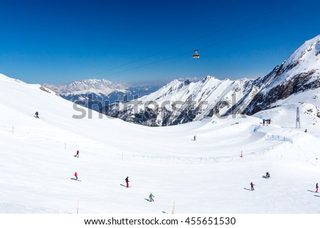 KAPRUN, AUSTRIA - MARCH 20, 2016: Cable cars and lifts in Kitzsteinhorn-Kaprun ski area  during sunny wather in spring season 2016 - stock photo