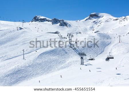 KAPRUN, AUSTRIA - MARCH 19, 2016: Kitzsteinhorn - Kaprun ski area during sunny wather in spring season 2016 - stock photo