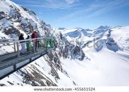 KAPRUN, AUSTRIA - MARCH 19, 2016: Mountain Panorama with Grossglockner - The highest peak of Austria - stock photo