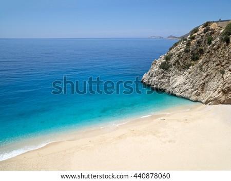 Kaputas beach (Kaputash beach) near Kas city in Turkey - stock photo