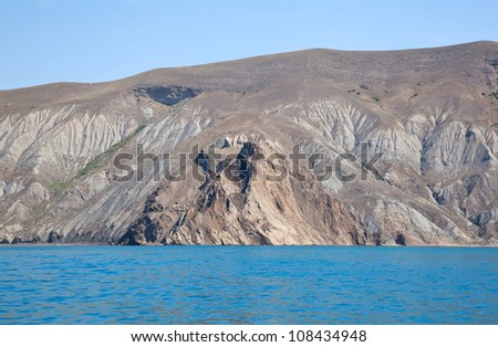 Kara Dag mountain rocks in Crimea in Ukraine - stock photo