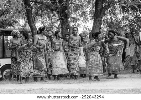 KARA, TOGO - MAR 9, 2013: Unidentified Togolese people dance at the local music performance. People in Togo suffer of poverty due to the unstable econimic situation