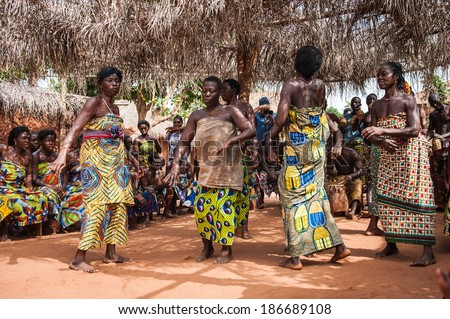 KARA, TOGO - MAR 11, 2012:  Unidentified Togolese people dance  the religious voodoo dance. Voodoo is the West African religion
