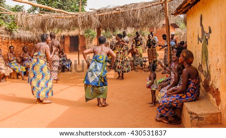 KARA, TOGO - MAR 11, 2012:  Unidentified Togolese women dance the religious voodoo dance. Voodoo is the West African religion