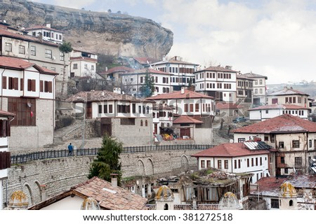 KARABUK, TURKEY - JAN 21, 2016: City of Safranbolu. The old town preserves many old buildings with 1008 registered historical artifacts.Safranbolu was added to the list of UNESCO World Heritage sites - stock photo
