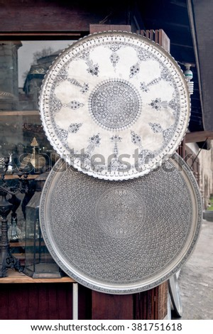 KARABUK, TURKEY - JAN 24, 2016:  Safranbolu traditional handcraft products in ironworking bazaar. Handcraft copper processing(zenaat) is the one of the most revenue generating art in the town.