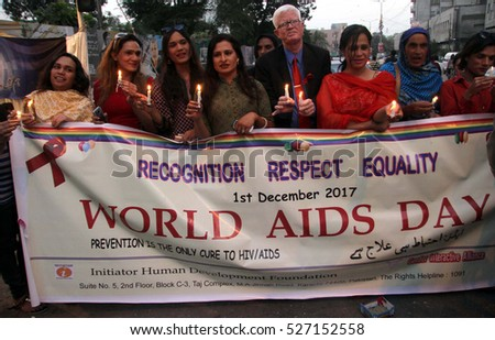 KARACHI, PAKISTAN - DEC 01: Transgenders are holding a candle light vigil during awareness demonstration in connection of HIV Universal Day, on December 01, 2016 in Karachi.