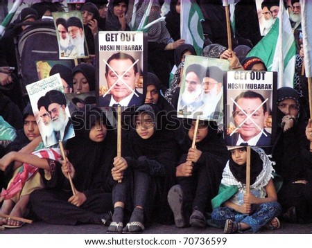 KARACHI, PAKISTAN - FEB 06: Supporters of Imamia Students Organization (ISO) are protesting during Bedariye Ummat Muslima rally at MA.Jinnah road on February 06, 2011 in Karachi.