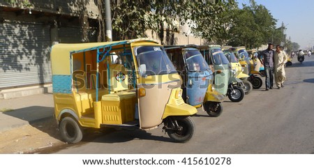 KARACHI, PAKISTAN - FEBRUARY 07: Tuk-tuk Scooter Taxi in Pakistan on February 07, 2016 in Karachi.