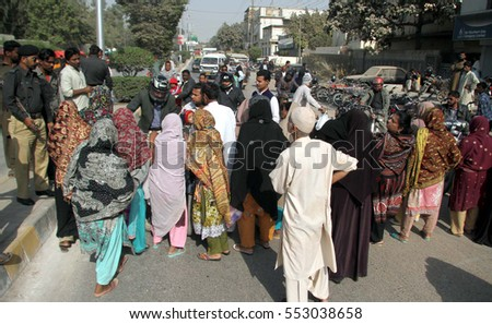 KARACHI, PAKISTAN - JAN 10: Residents of Malir Chaman Colony are holding protest  demonstration against closure of gas for residential consumers, on January 10, 2017 in Karachi.