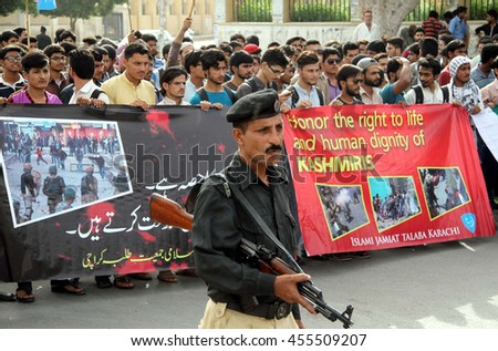 KARACHI, PAKISTAN - JUL 20: Activists of Jamat-e-Islami (JI) are protesting against brutality of Indian Army in Kashmir during protest rally on July 20, 2016 in Karachi.