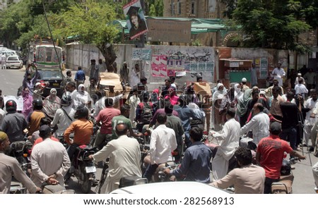 KARACHI, PAKISTAN - MAY 29: Residents of Mehran Town are protesting against demolition of their houses during anti encroachment drive by KDA, on May 29, 2015 in Karachi.