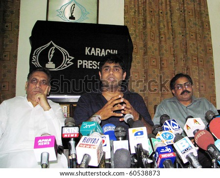 KARACHI, PAKISTAN-SEPT 02: Sahara for Life Trust Chairman and renowned singer, Abrar-ul-Haq addresses press conference at Karachi press club on Thursday, September 02, 2010.