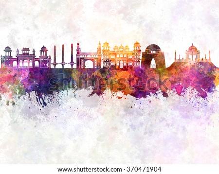 Karachi skyline in watercolor background - stock photo