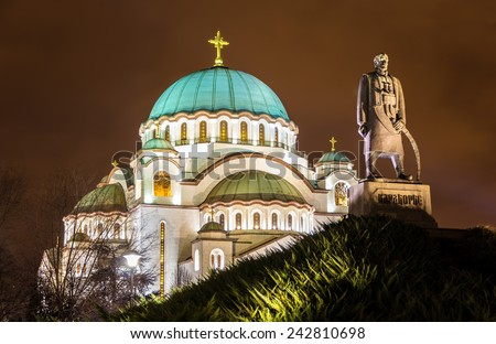 Karadjordje Monument and the Church of Saint Sava in Belgrade, Serbia - stock photo