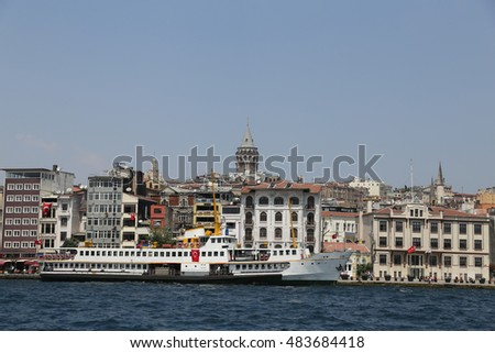 Karakoy and Galata Tower in Istanbul City, Turkey
