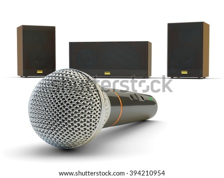 Karaoke and public speaking equipment, microphone and audio speakers isolated on white background - stock photo