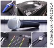 Karaoke equipment. Microphone, piano and dj tools - stock photo
