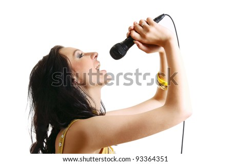 Karaoke Girl Singing , isolated on white background