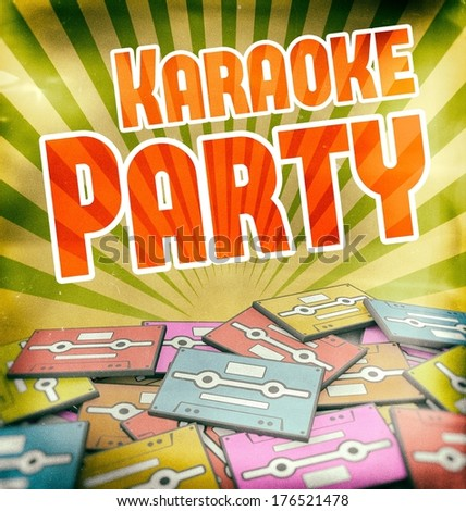 Karaoke party vintage poster design. Retro concept on old cassettes - stock photo