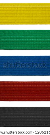 Karate belt set isolated on white background set of five belts - stock photo