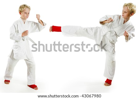 Karate boy exercising on white background - stock photo