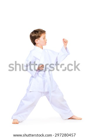 Karate boy in kimono posing in the studio. Sport, martial arts. Isolated over white. Full length portrait.