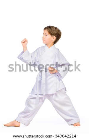 Karate boy in kimono posing in the studio. Sport, martial arts. Isolated over white. Full length portrait. - stock photo