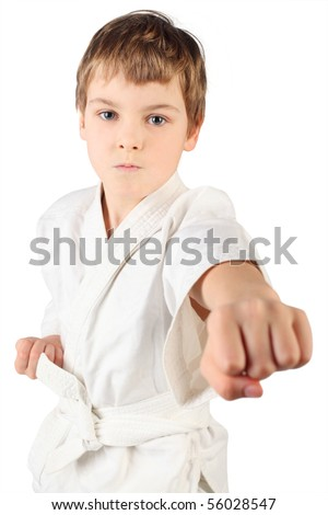 karate boy in white kimono fighting isolated on white background