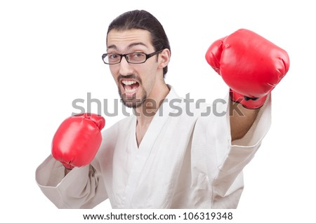 Karate fighter isolated on the white