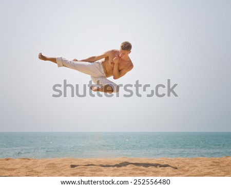 karate jump - stock photo