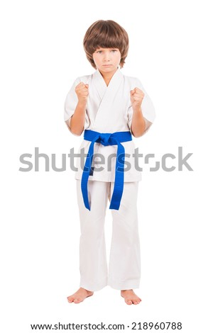 Karate. Little boy dress karate uniform isolated on white - stock photo