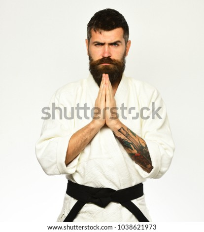 Karate man strict face uniform japanese stock photo royalty free karate man with strict face in uniform japanese martial arts concept man with beard m4hsunfo