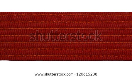 Karate red belt closeup isolated on white background