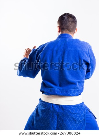 karate teacher back - stock photo