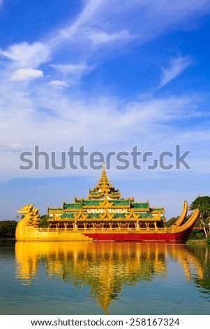 Karaweik palace (replica), Yangon, Myanmar - stock photo