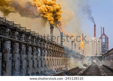 KARDEMIR, TURKEY - NOVEMBER 12, 2013: Failure of the turbocharger on the coke battery, Turkey on November 2013. Coke battery in Kardemir Karabak Iron and Steel Industry and Trade on November 2013  - stock photo