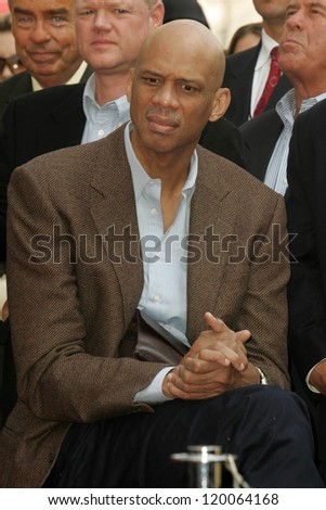 Kareem Abdul-Jabbar at the Ceremony Honoring Los Angeles Lakers Owner Jerry Buss with the 2,323rd star on the Hollywood Walk of Fame. Hollywood Boulevard, Hollywood, CA. 10-30-06 - stock photo