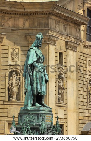 Karel IV - sculpture in Prague, Czech Republic - stock photo