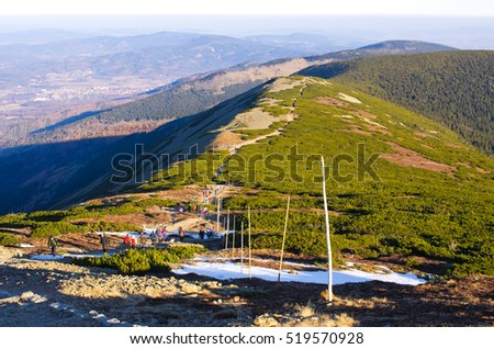 Karkonosze Mountains, Poland - December 30, 2015: Crowded polish mountains during early winter. Karkonosze Mountains are one of most famous in Poland.