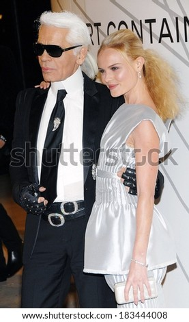 Karl Lagerfeld, Kate Bosworth at Opening Night Party for Mobile Art CHANEL Contemporary Art Container by Zaha Hadid, Rumsey Playfield in Central Park, New York, October 21, 2008 - stock photo