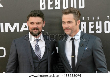 Karl Urban and Chris Pine attend at the Star TreK Beyond  premiere during Comic Con on July 20, 2016 at the Embarcadero Marina Park South in San Diego, CA.